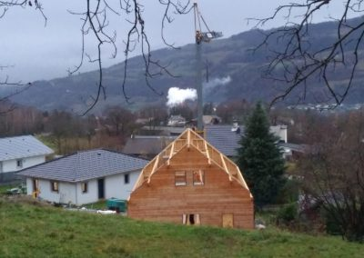 Montage de maison ossature bois du plancher au toit a La Rochette en Savoie - 733